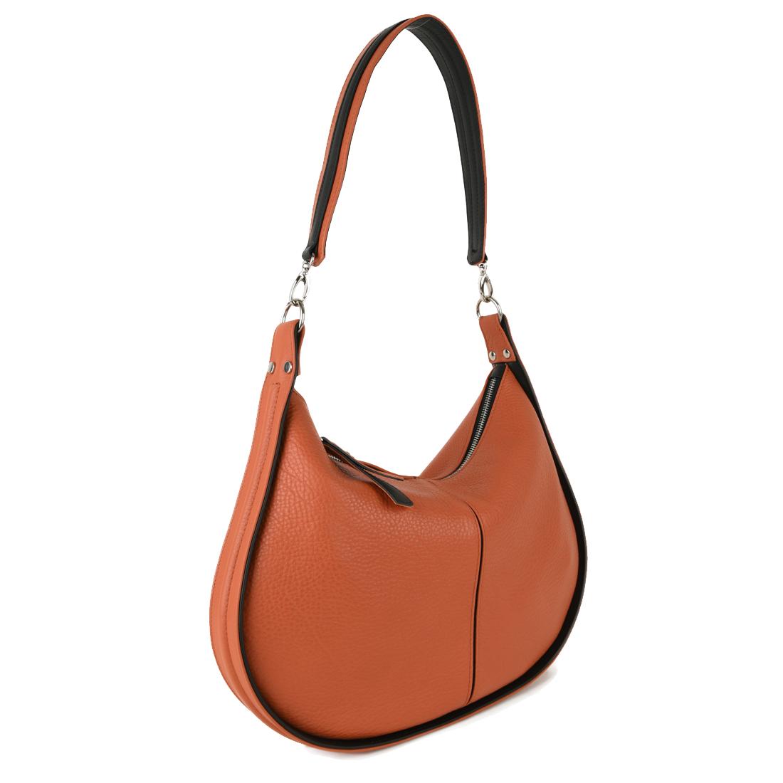 Lizzie Orange Leather Shoulder Bag