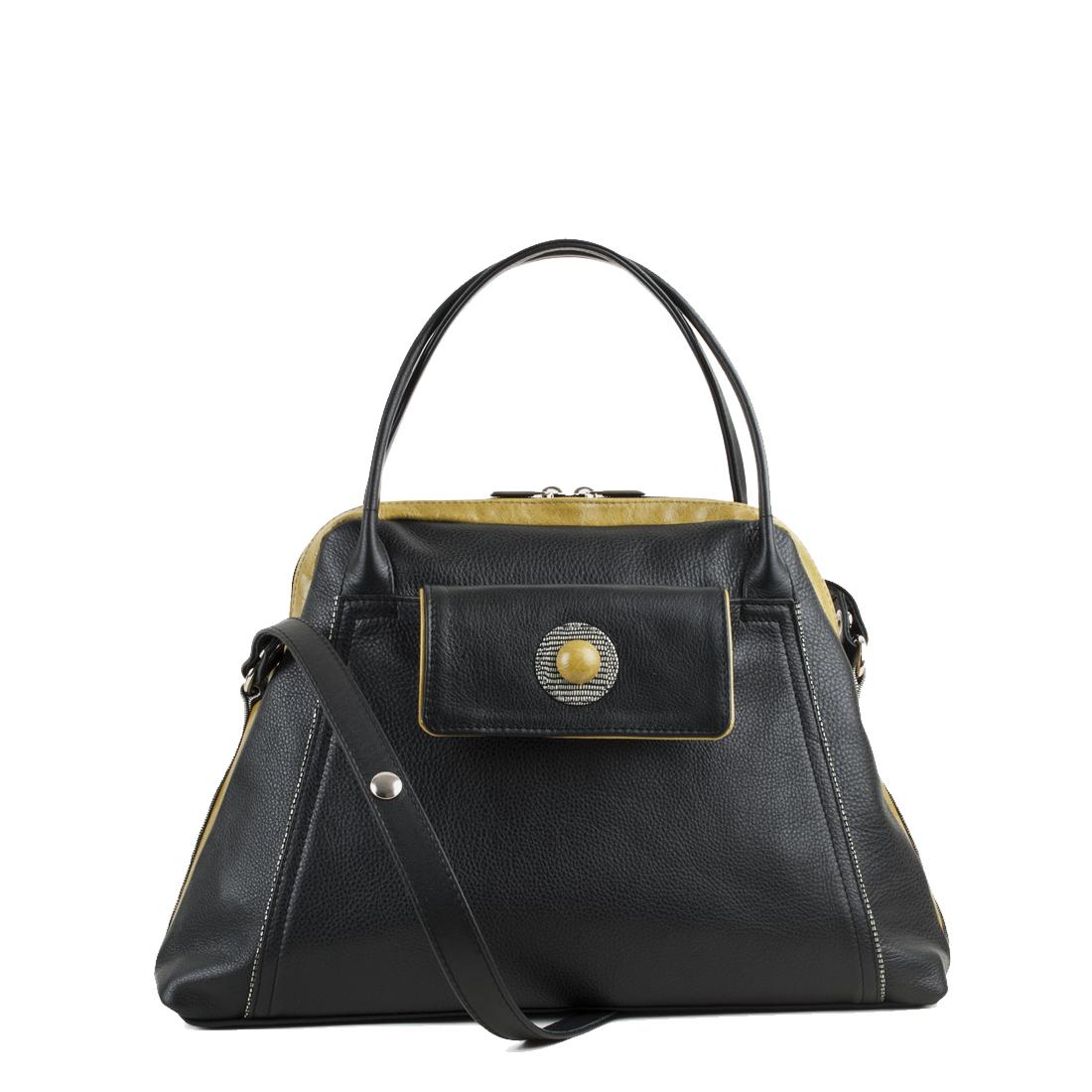 Lottie Black Leather Shoulder Bag