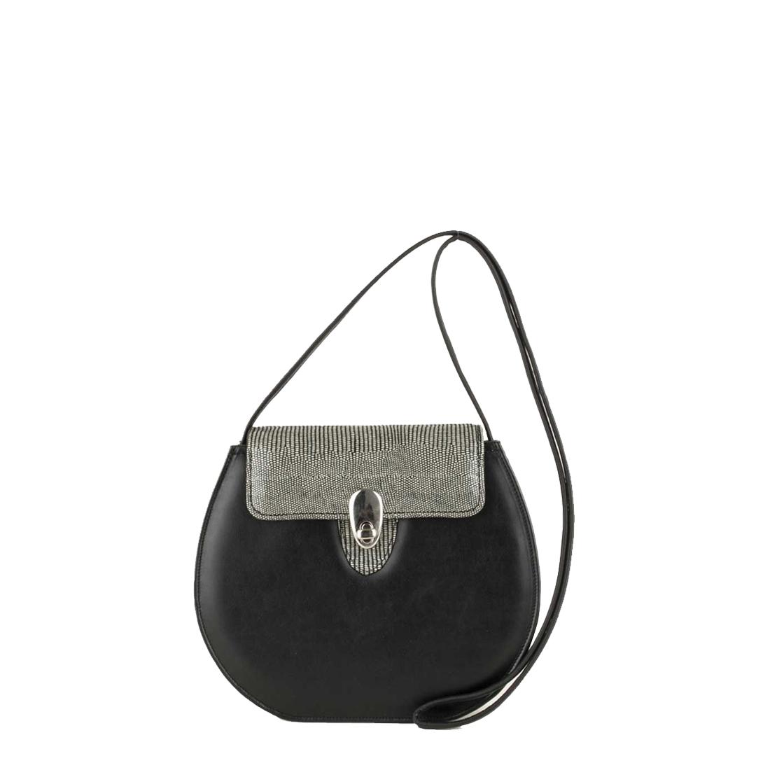 Mae Black Leather Shoulder Bag
