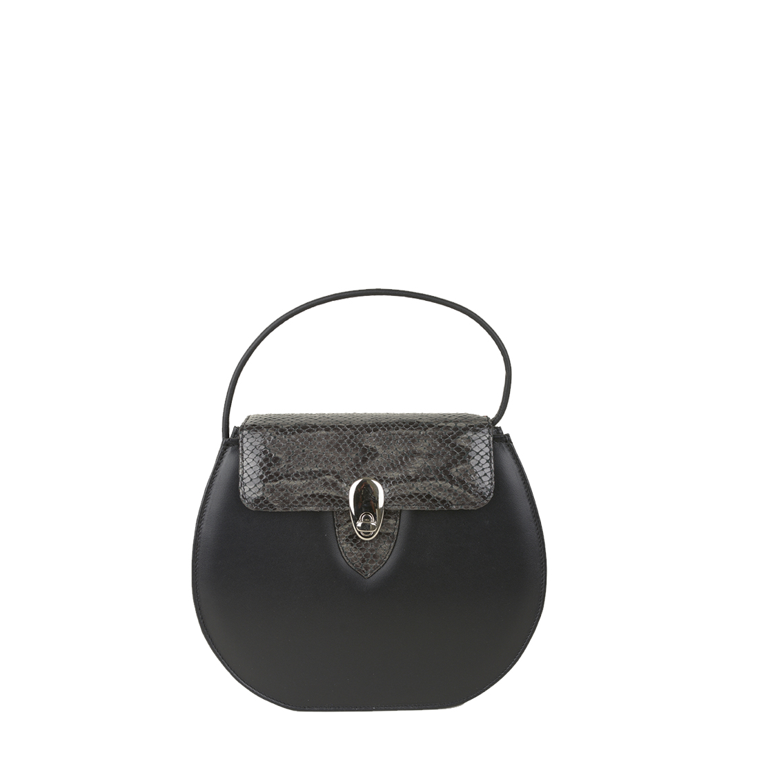 Mae Black / Grey Python Print Leather Shoulder Bag