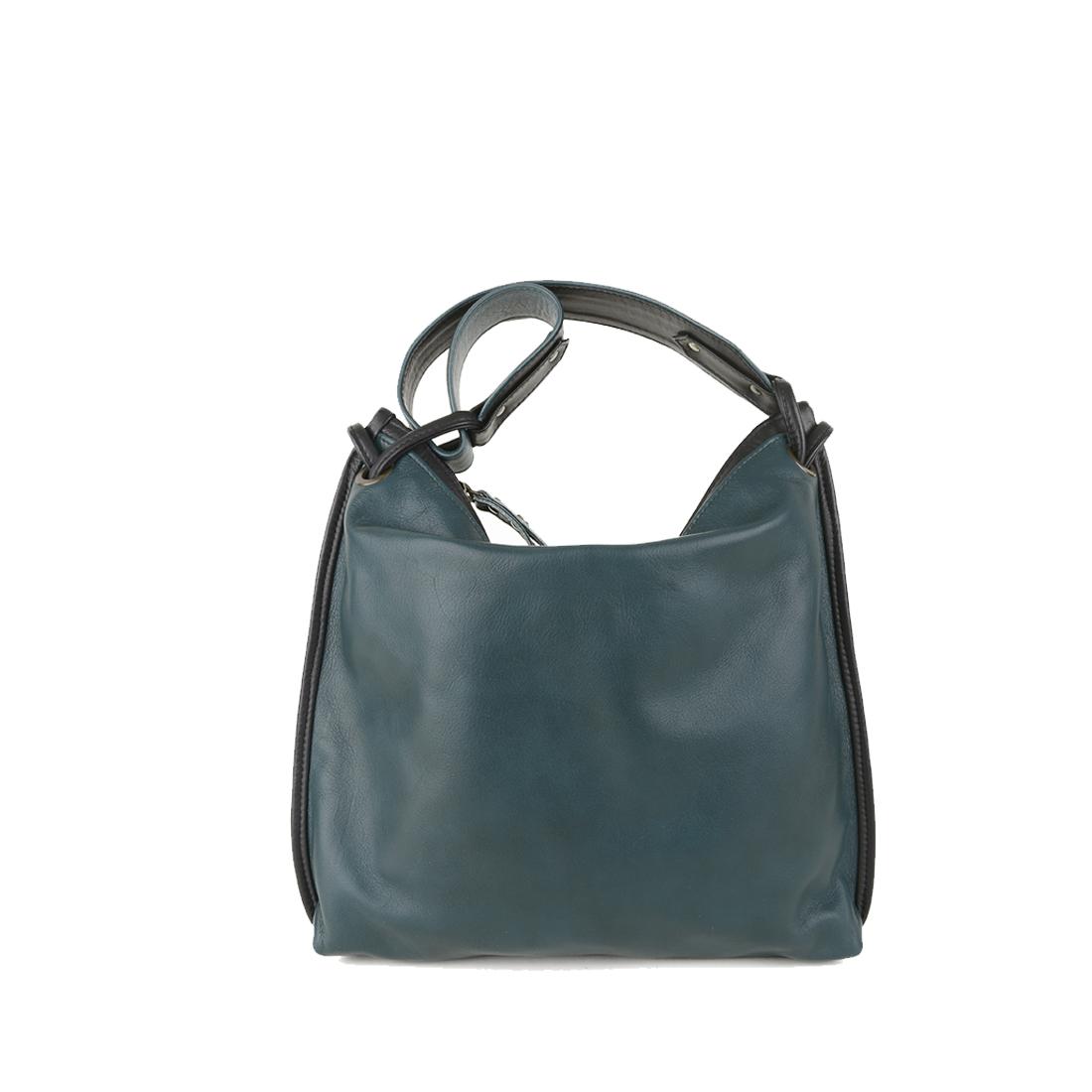 Maria Teal Black Leather Shoulder Bag