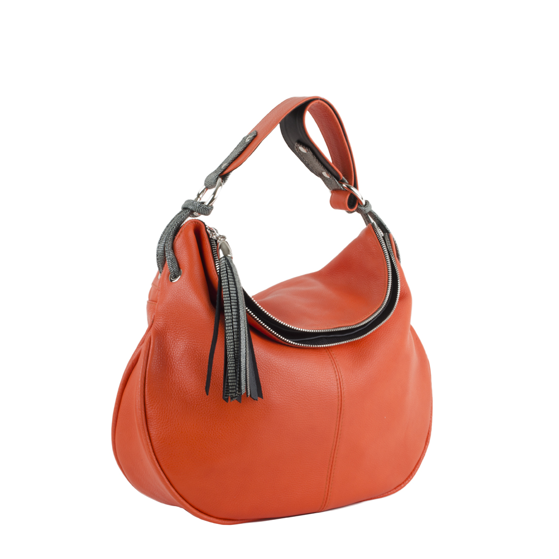 Matilda Orange Leather Shoulder Bag