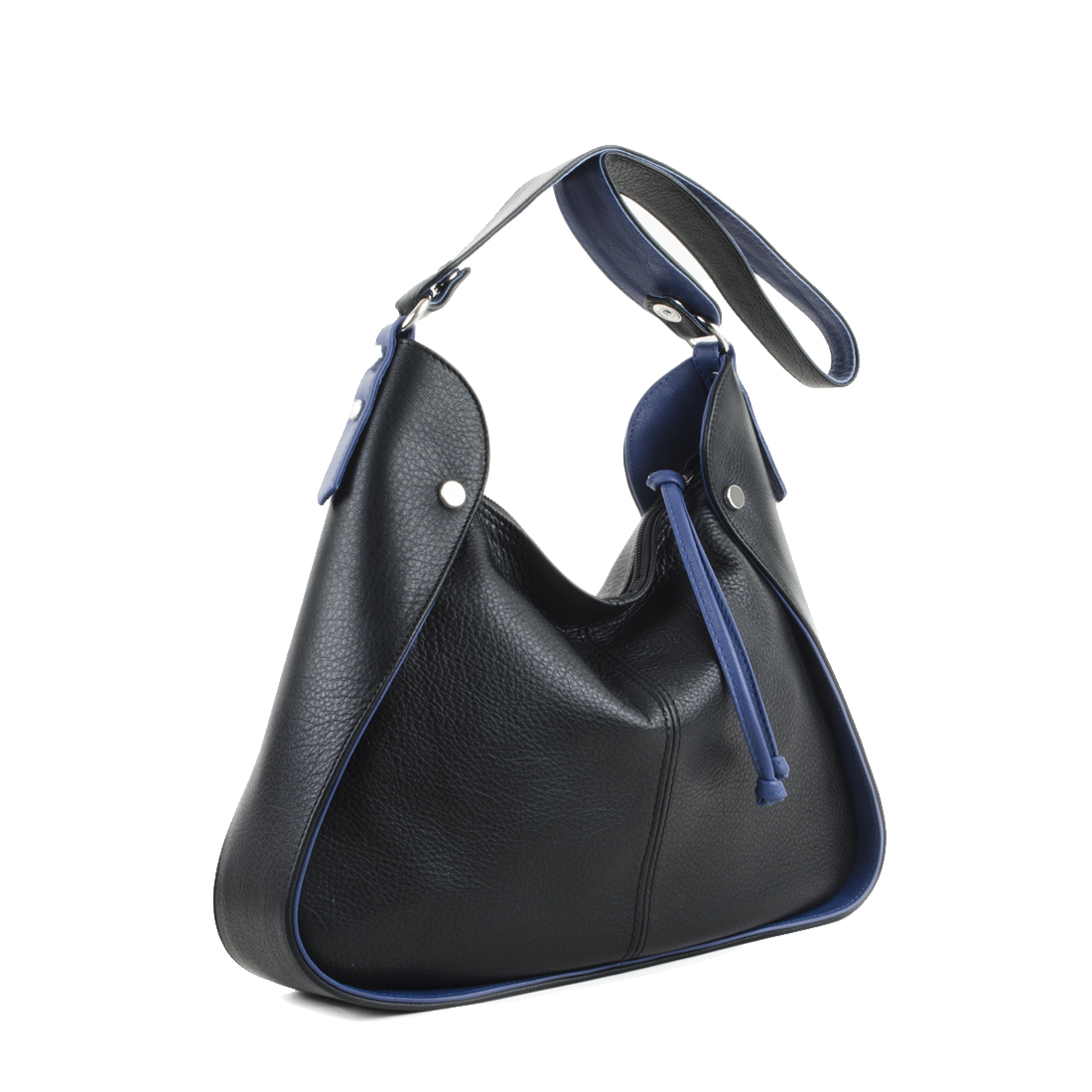 Meredith Black Blue Leather Shoulder Bag.