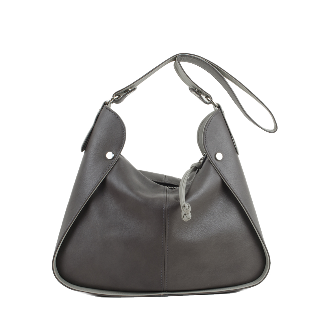 Meredith Grigio Pomice Leather Shoulder Bag.