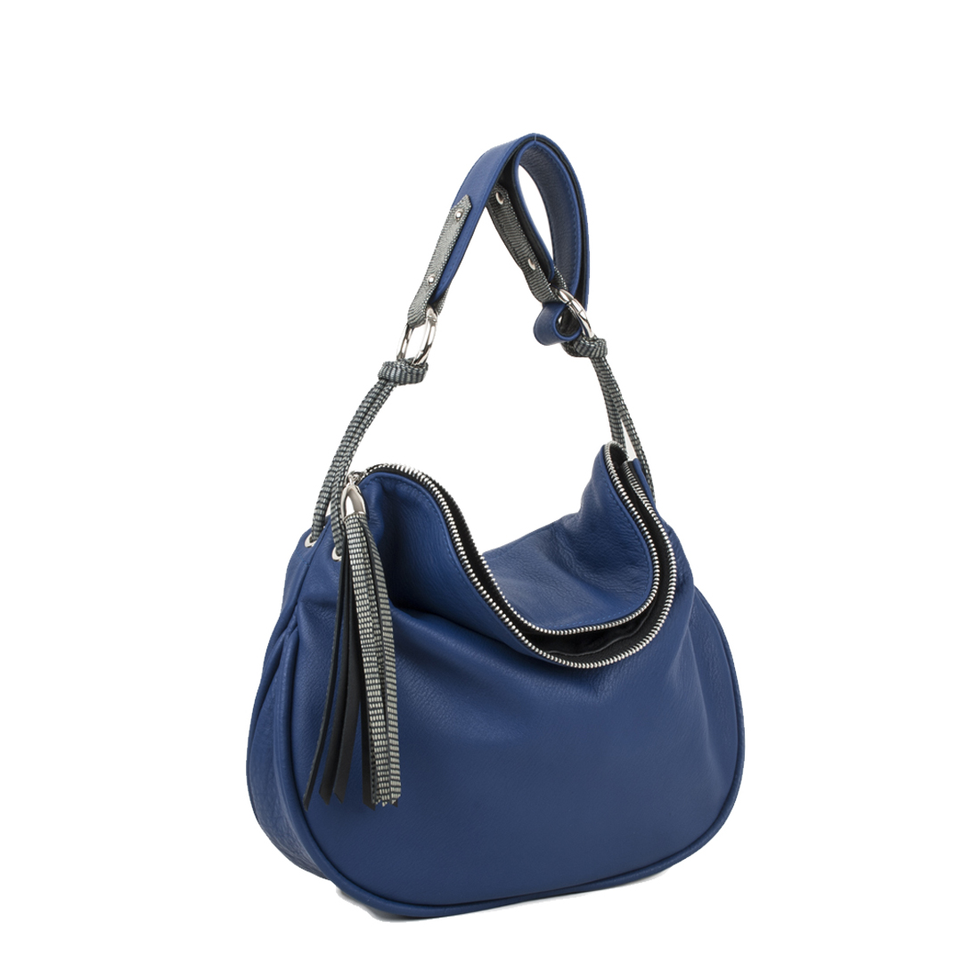 Milly Blue Leather Shoulder Bag