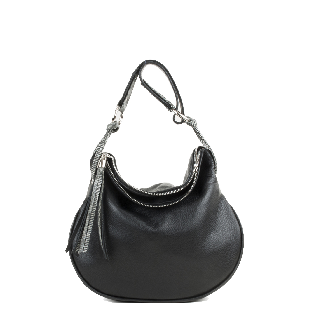 Milly Black Leather Shoulder Bag