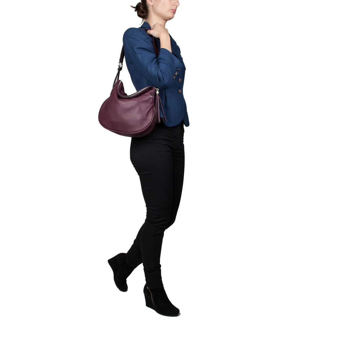 Milly Black Leather Shoulder Bag