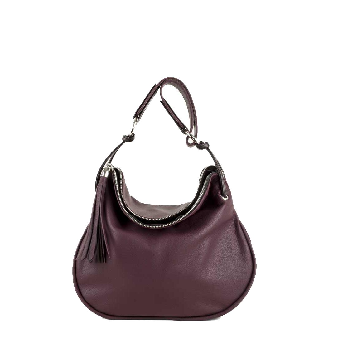 Milly Plum Leather Shoulder Bag