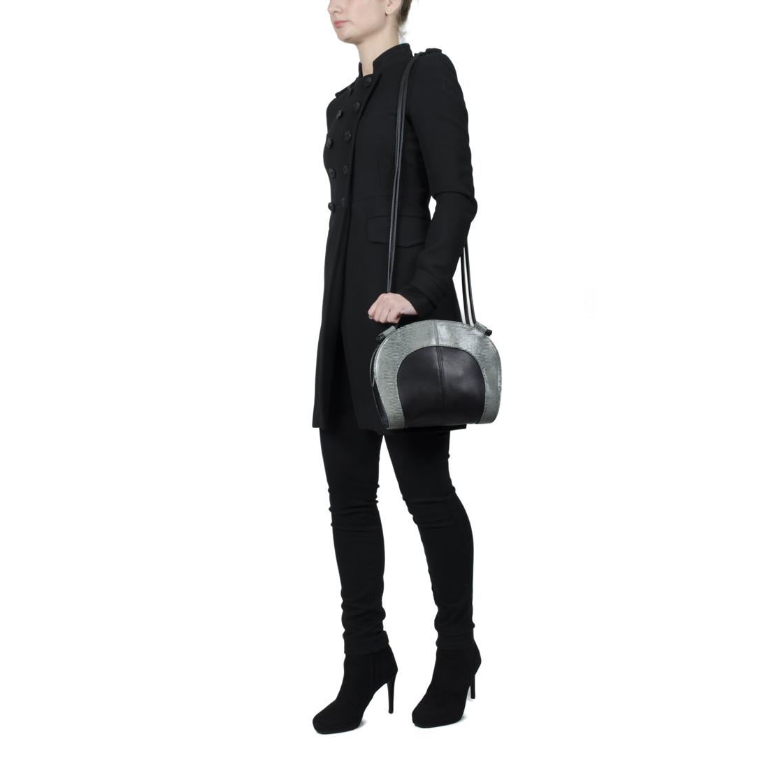 Molly Black Ostrich Print Leather Shoulder Bag