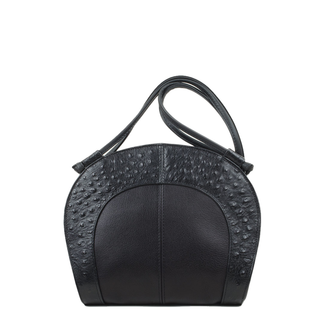 Molly Black Ostrich Print Leather Shoulder Bag