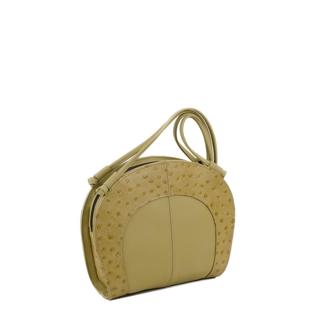 Molly Ostrich Lime Print Leather Shoulder Bag