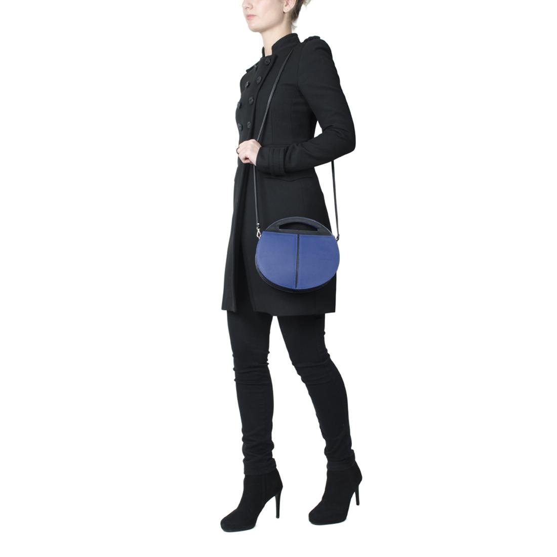 Olivia Purple Blue with black Leather Shoulder Bag