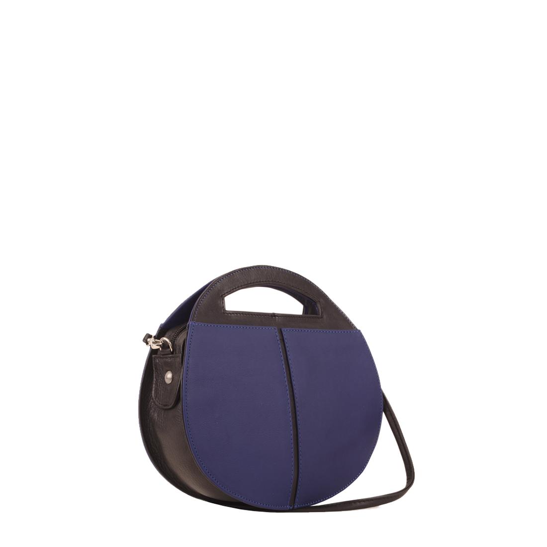 Olivia Blue with black Leather Shoulder Bag