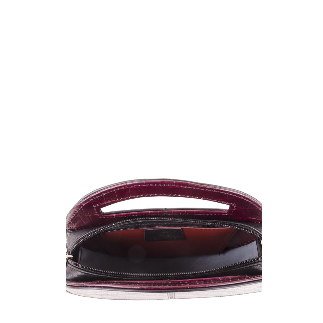 Olivia Burgundy Crocodile Print Leather Shoulder Bag