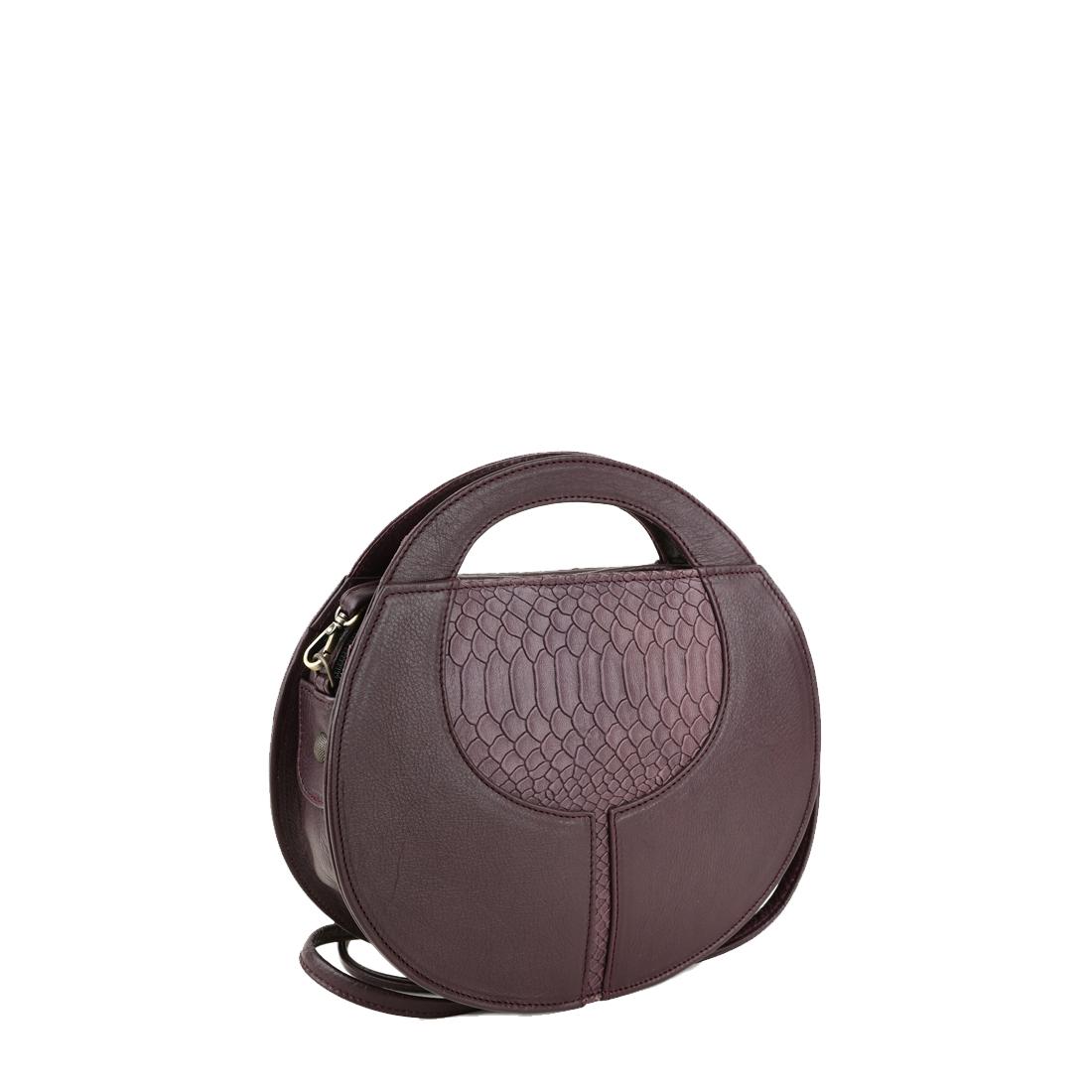 Olivia Plum Leather Shoulder Bag