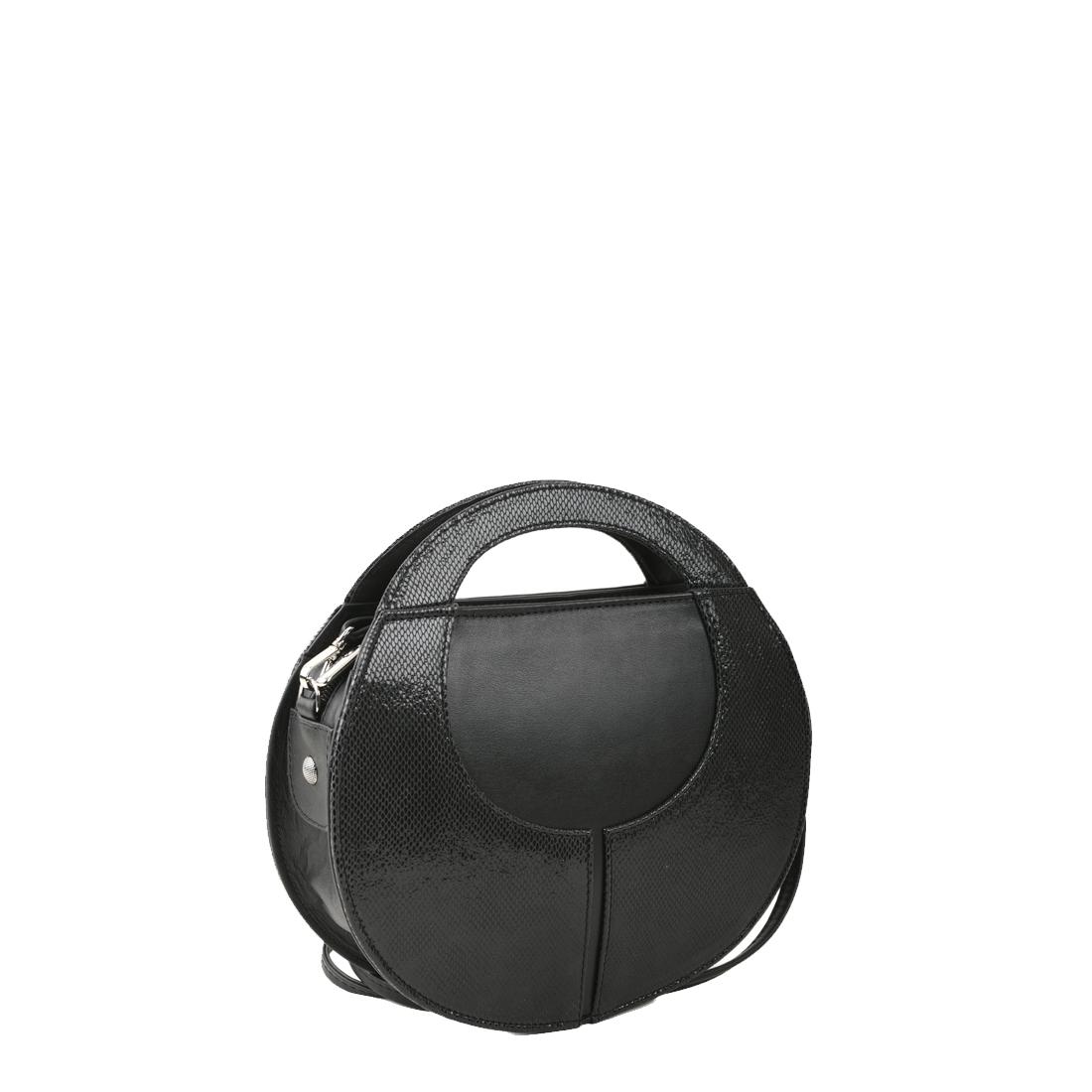 Olivia Black Print  Leather Shoulder Bag