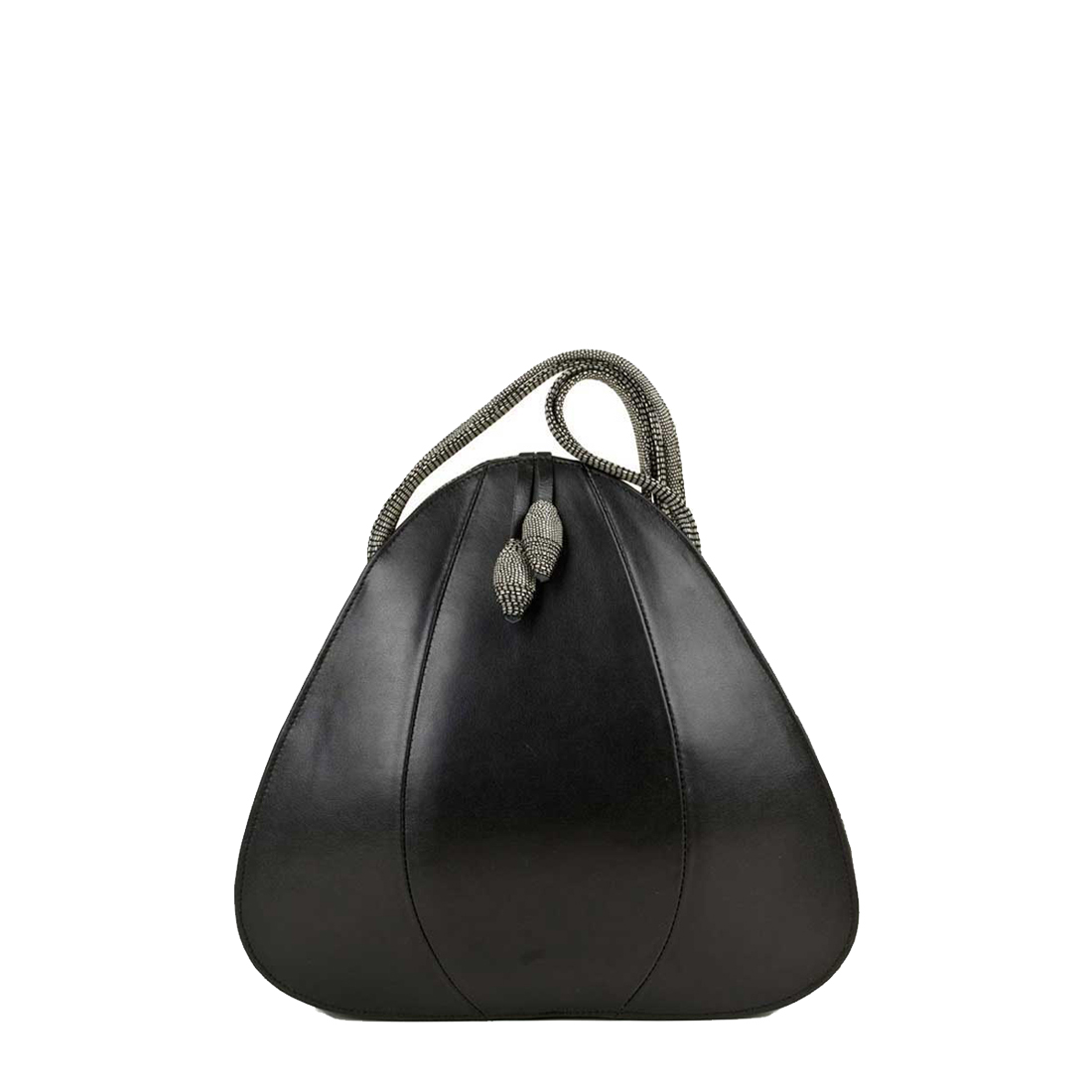 Petal Black Leather Shoulder Bag