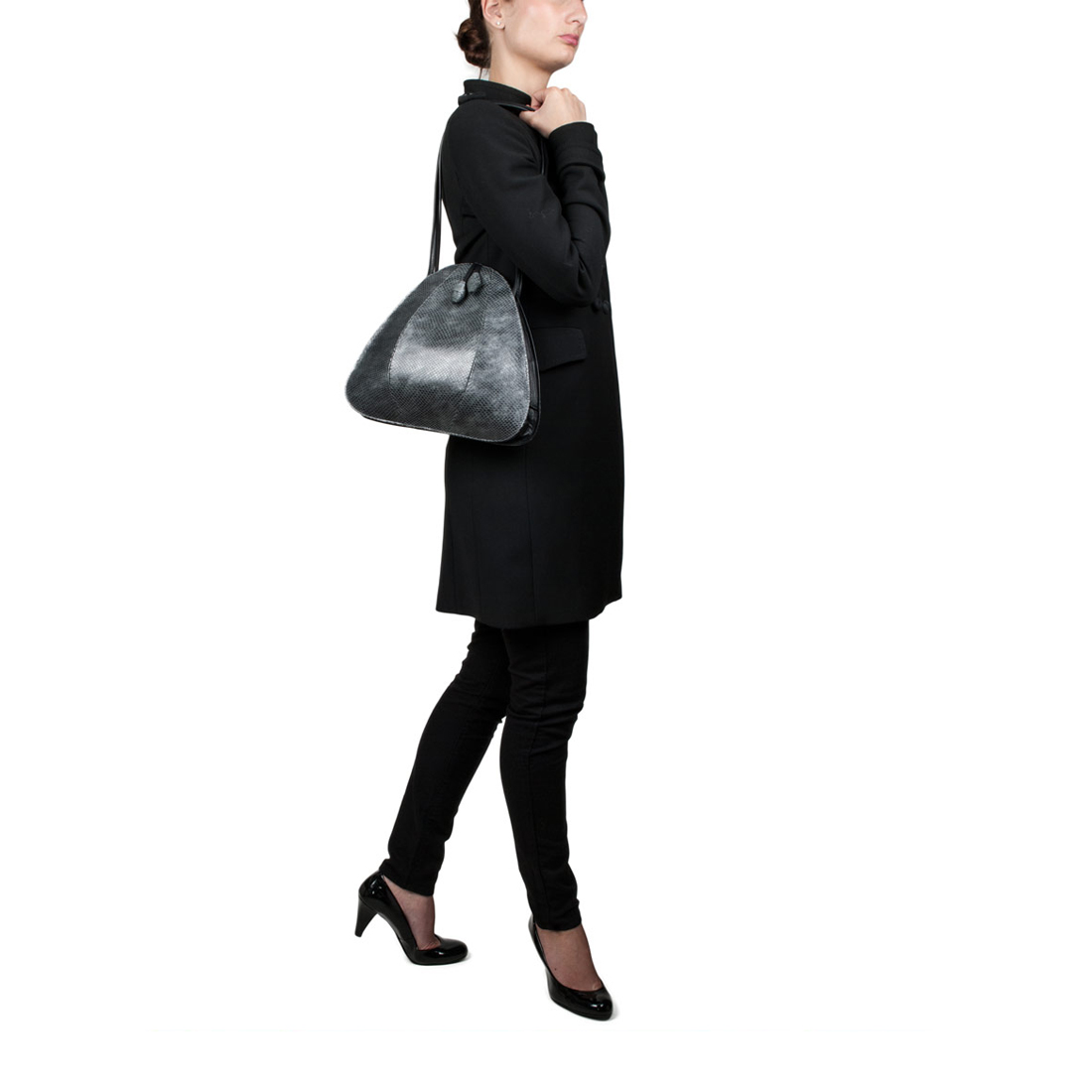 Petal Anthracite Pearl Shoulder Bag