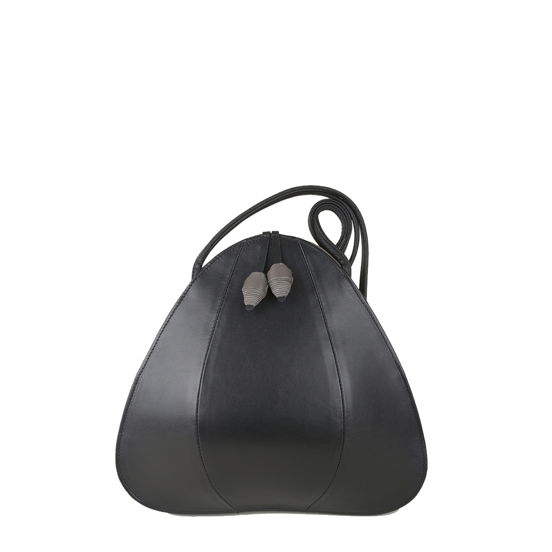 Petal Black Grigio Leather Shoulder Bag