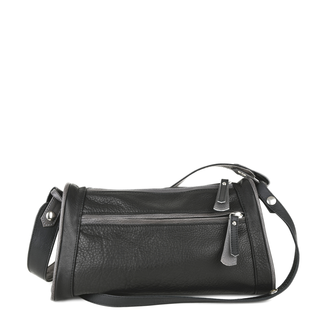 Petra Black Leather Shoulder Bag