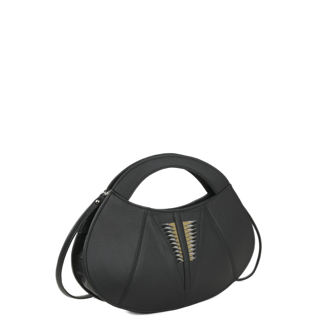 Poppy Black  Leather Evening Bag