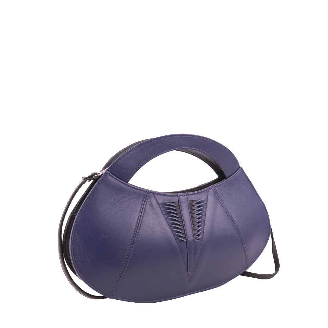 Poppy Purple Blue Leather Evening Bag