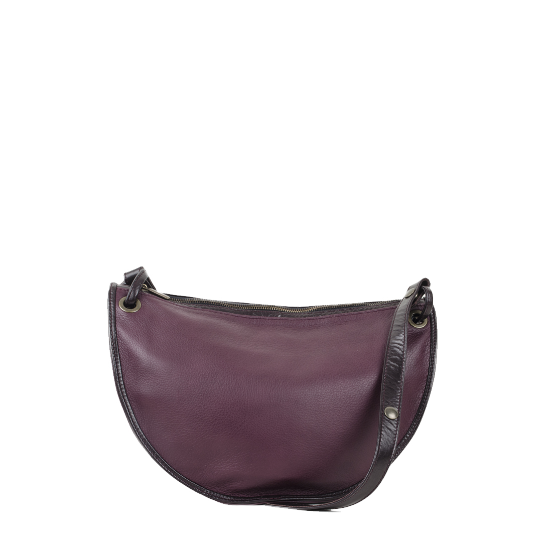 Rachel Plum Leather Across Body Bag