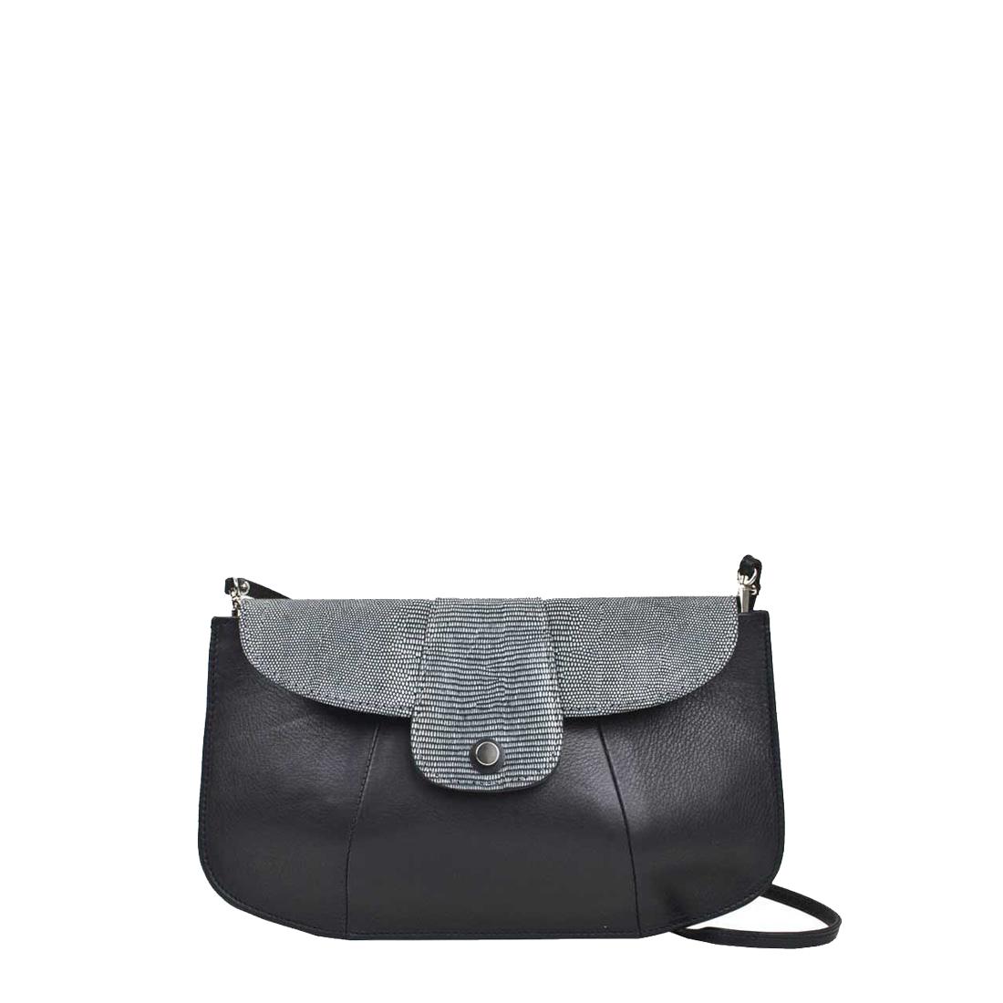 Ruby Black Leather Shoulder Bag