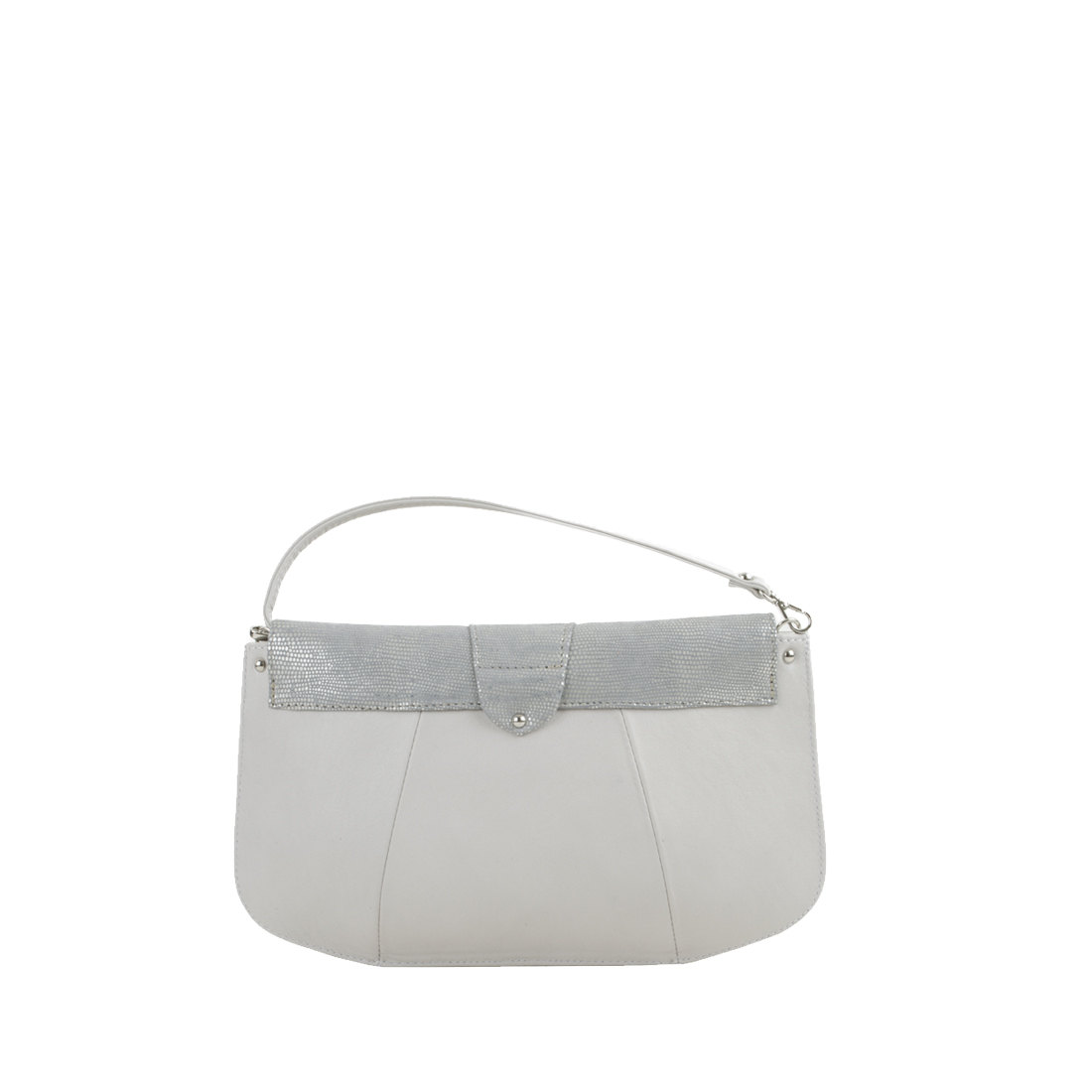 Ruby Silver Eel Print Leather Shoulder Bag