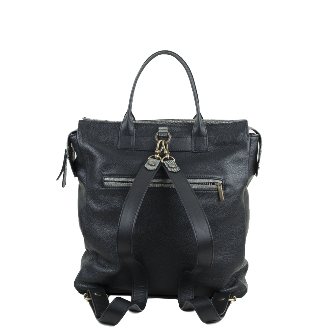 Sara Black Leather Backpack
