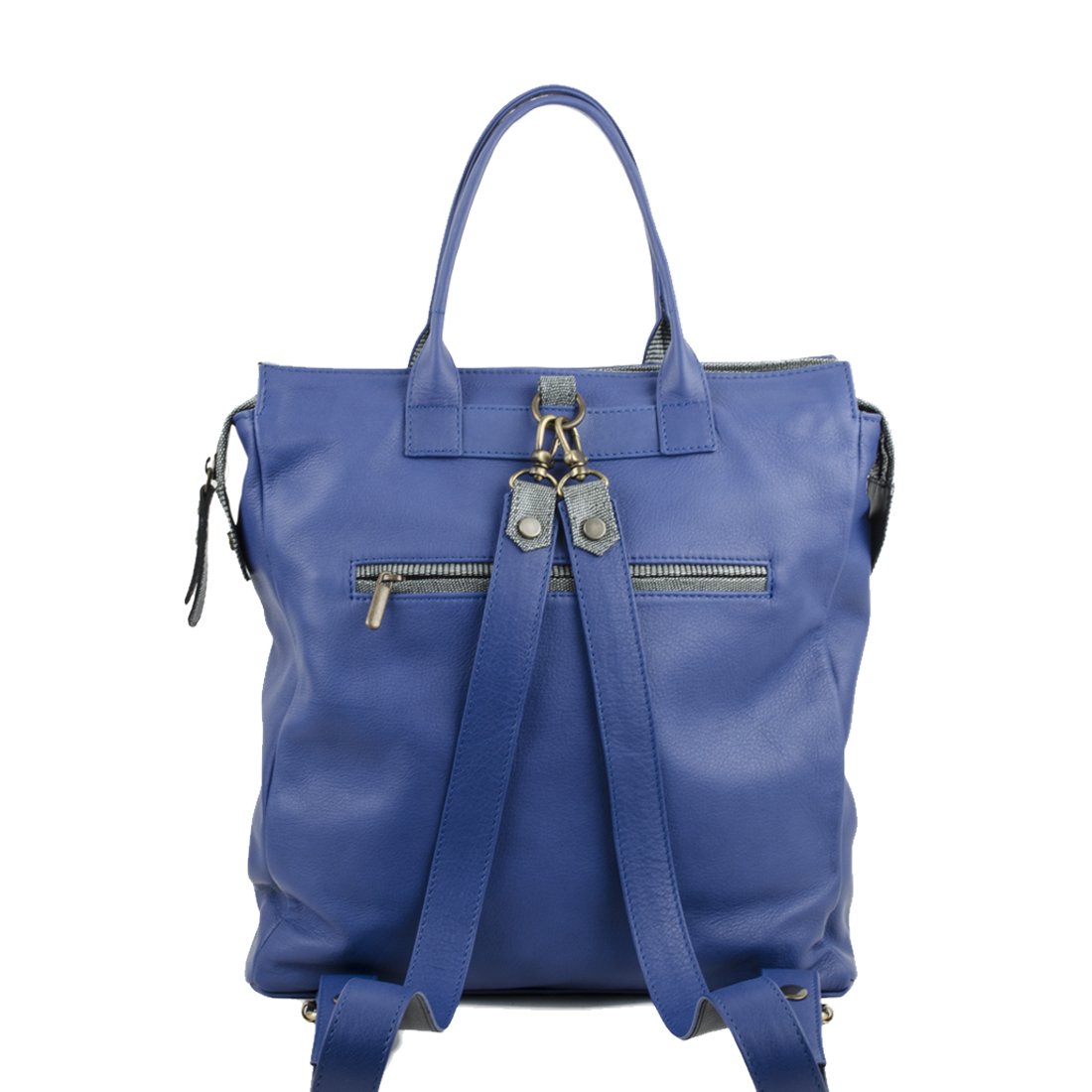 Sara Blue Leather Backpack