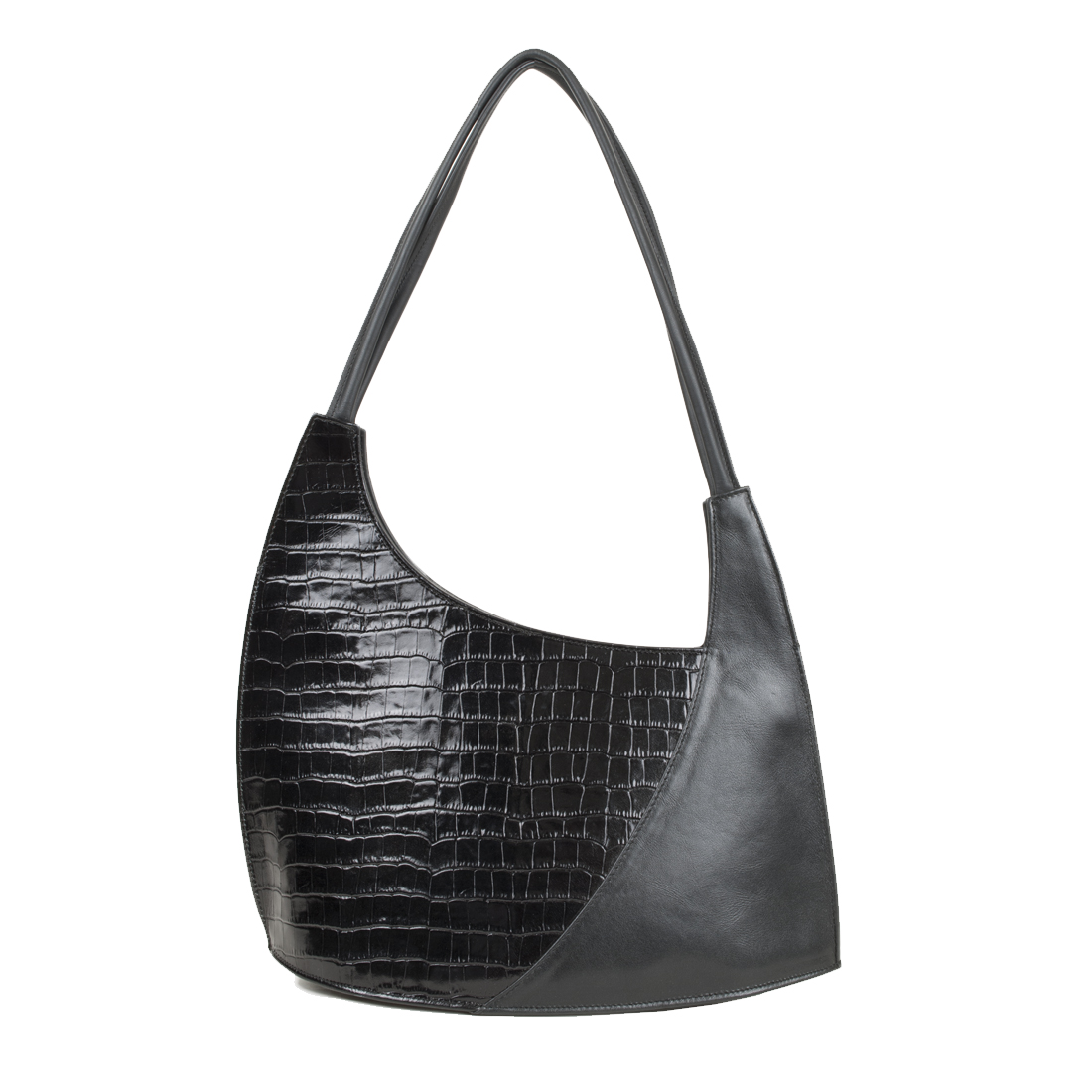 Scoop Black Crocodile Print Leather Shoulder Bag