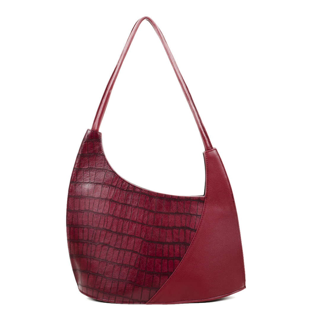 Scoop Burgundy Crocodile Print Leather Shoulder Bag