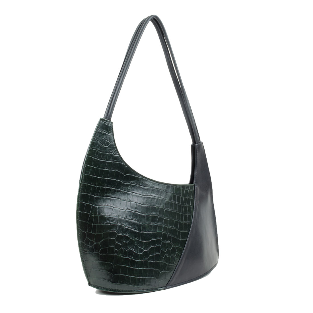 Scoop Green Crocodile Print Leather Shoulder Bag