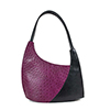 Scoop Magenta Black Leather Shoulder Bag