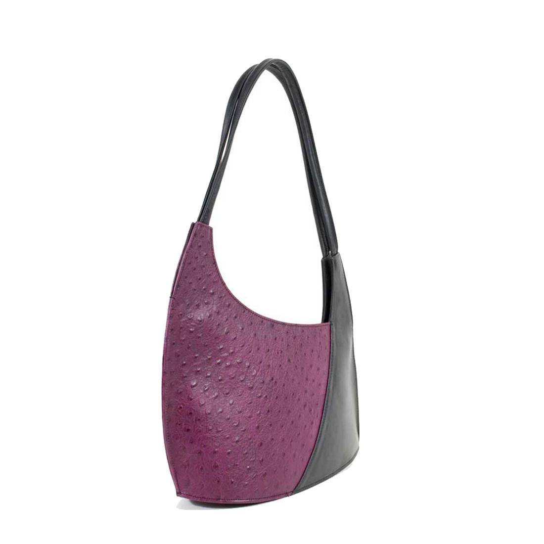 Scoop Magenta Black Leather Shoulder Bag