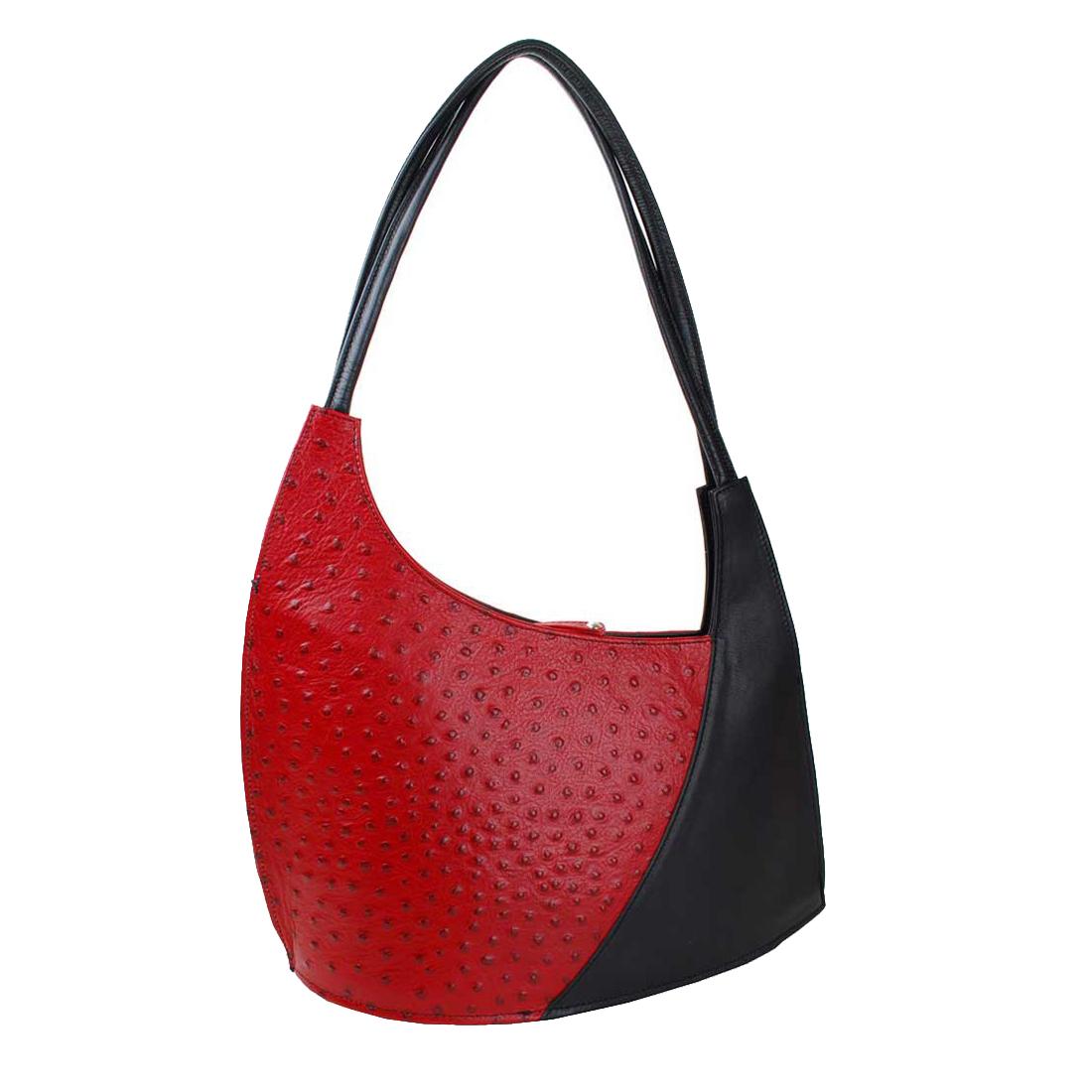 Scoop Red Black Leather Shoulder Bag