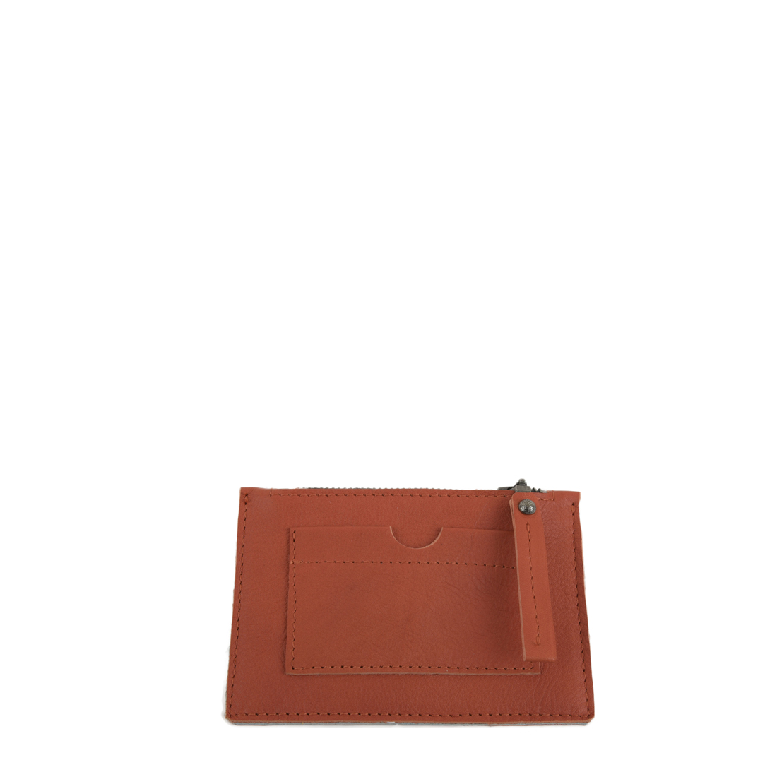 Orange Small Leather Credit Card Purse