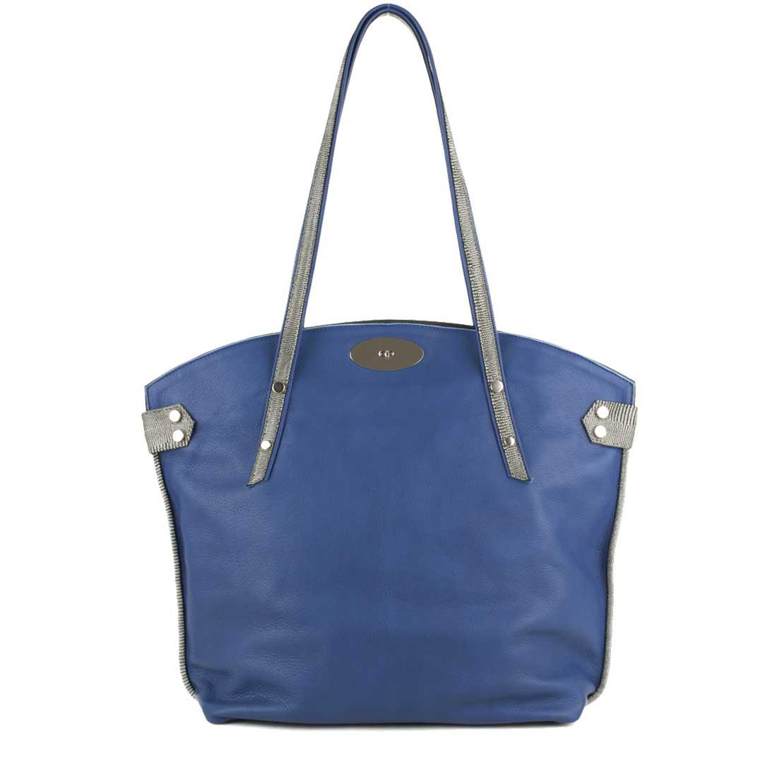 Tamara Blue Leather Tote Bag