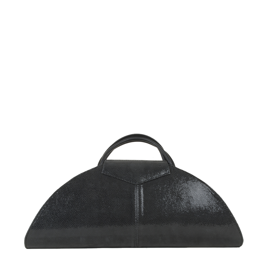 V Clutch Black Print Leather Handbag