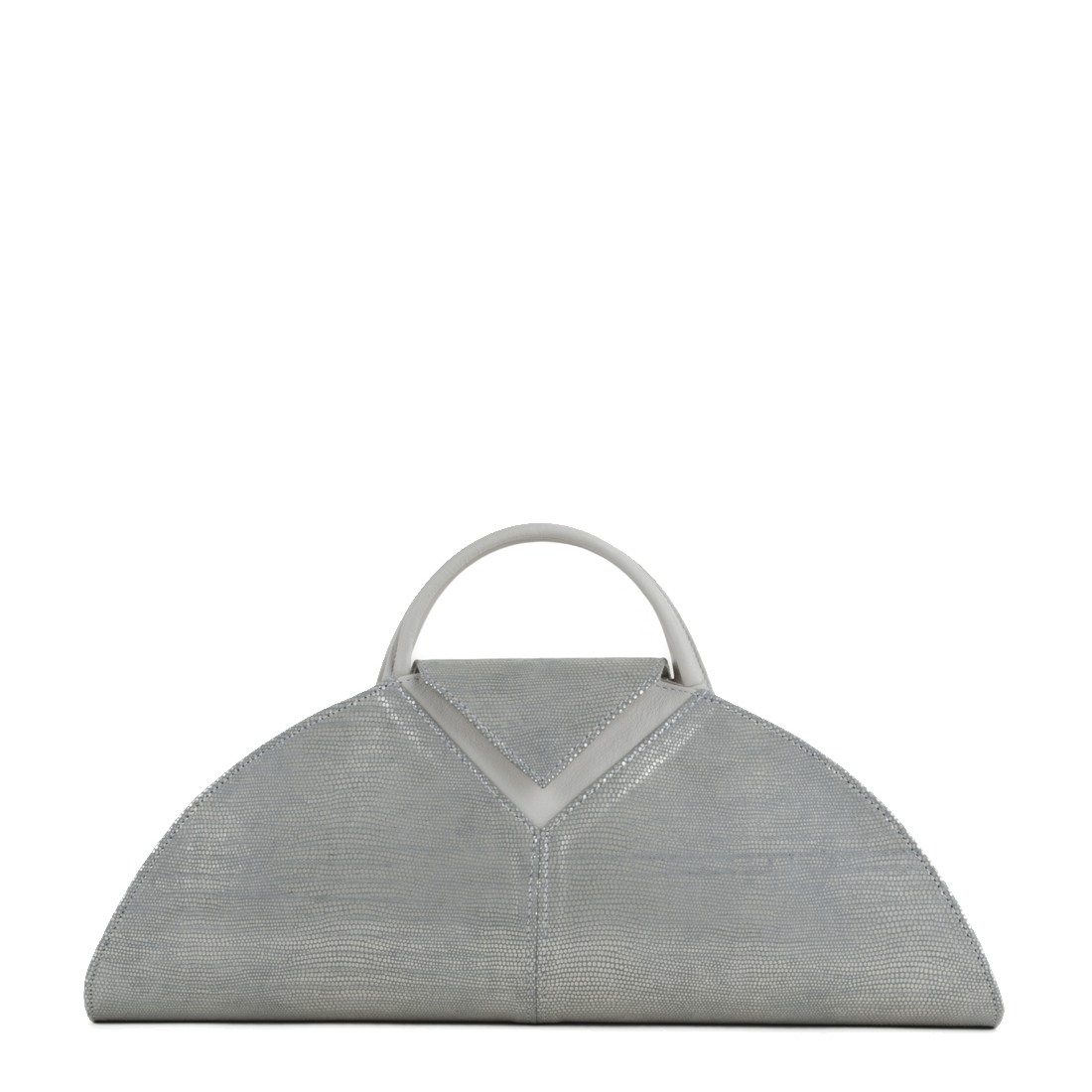 V Clutch Silver Eel Print Leather Handbag