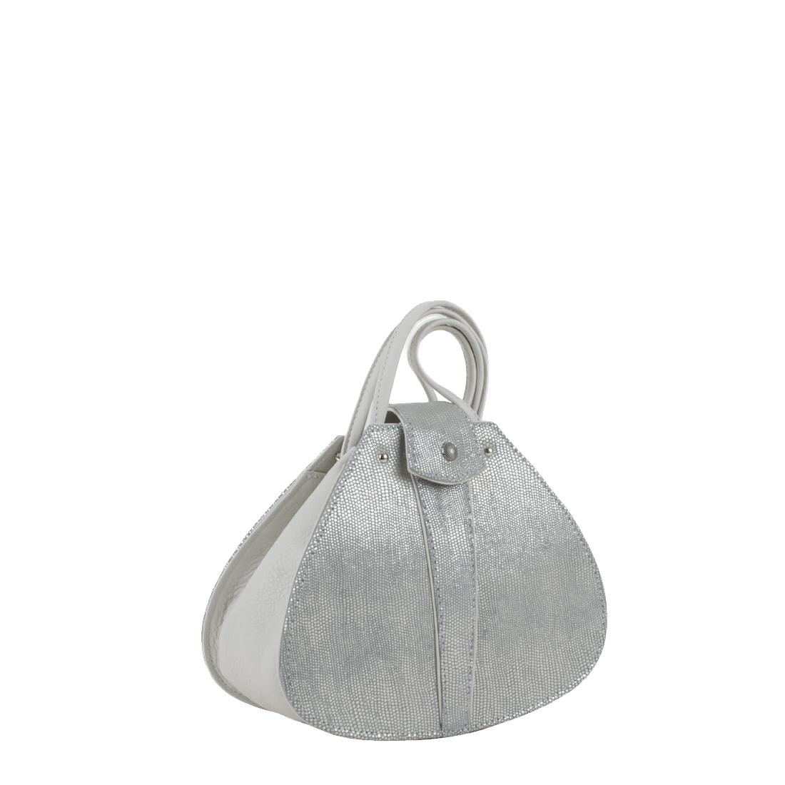 Vintage Silver Eel Print Leather Shoulder Bag
