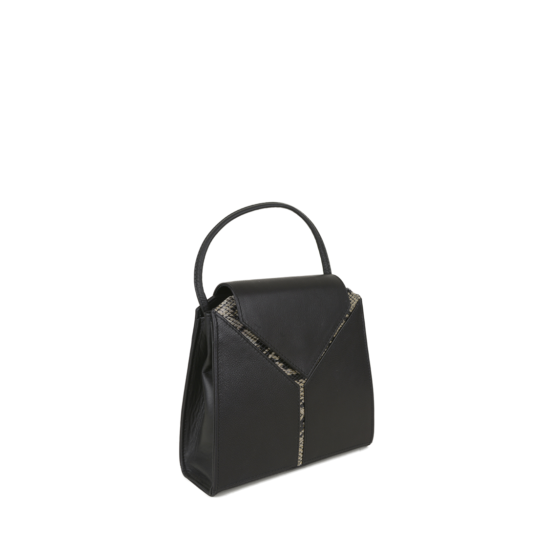 Yasmin Black Cream Python Evening Shoulder Bag