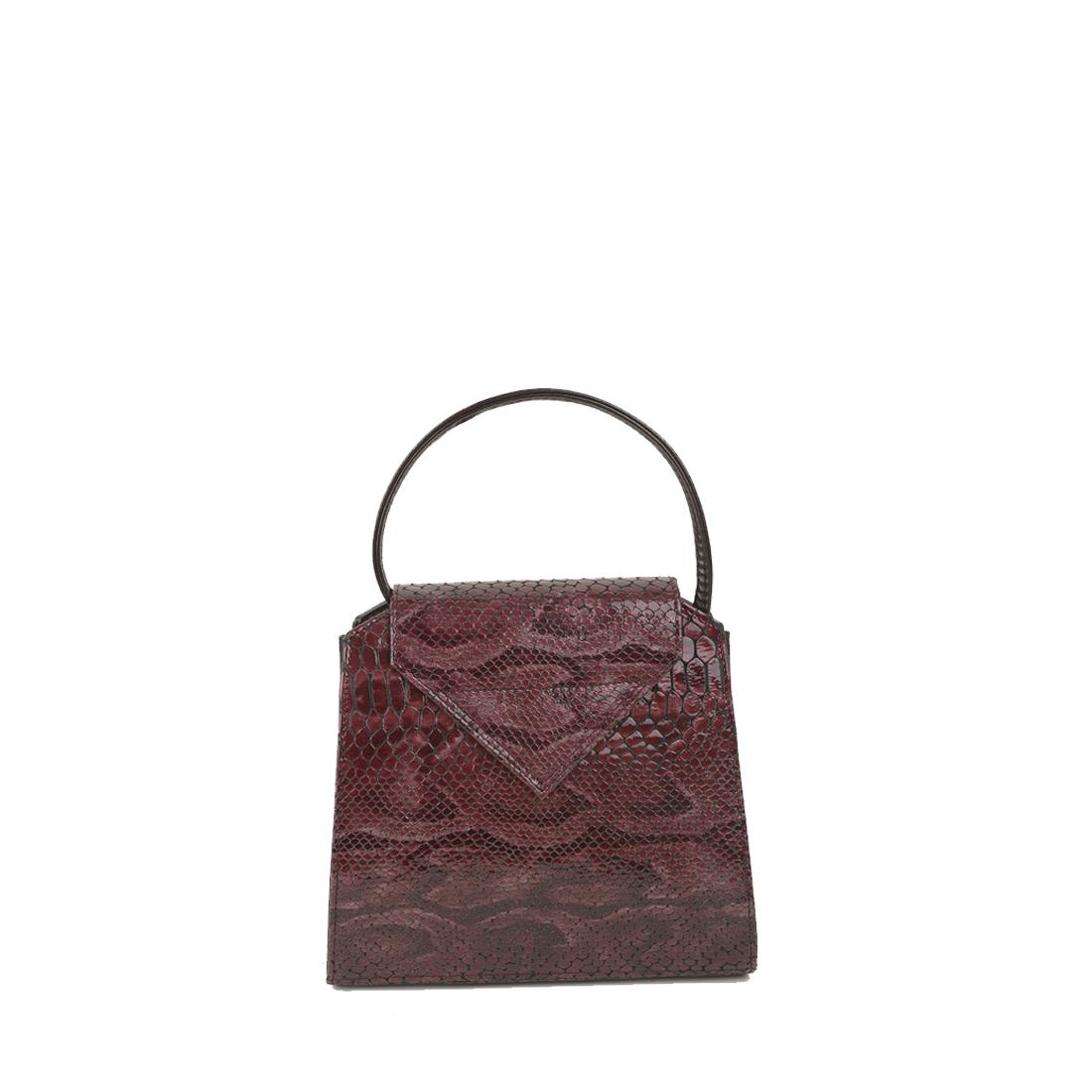 Yasmin Plum Python Print Leather Evening Shoulder Bag