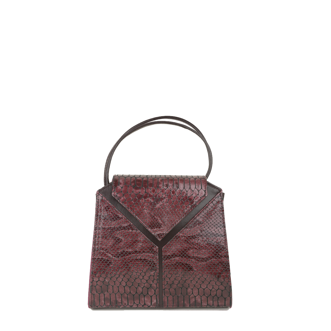 Yasmin Plum Python Print Leather Evening Shoulder Bag