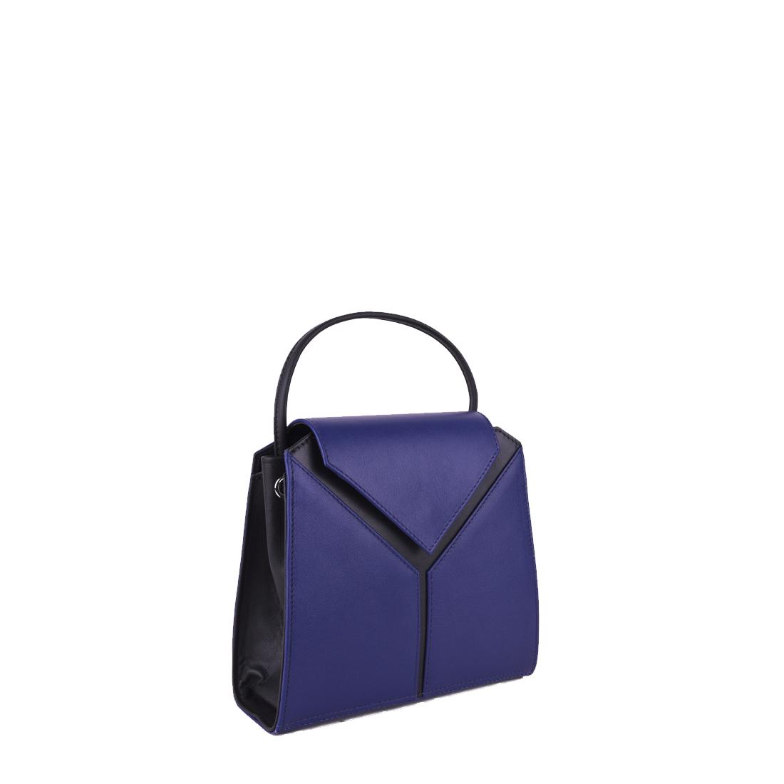 Yasmin Purple Blue Leather Evening Shoulder Bag