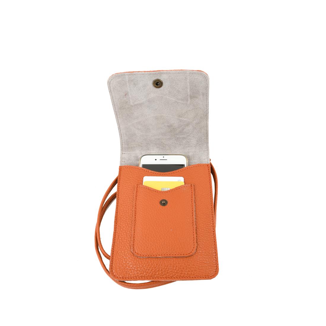 Zoe burnt orange phone pouche